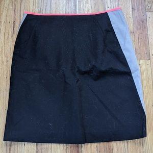 Tahari Black Khaki Neon Pink Skirt, 6P